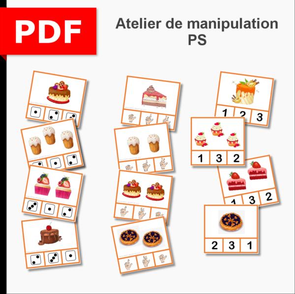 atelier de manipulation dénombrement cartes à pince PS petite section maternelle ief