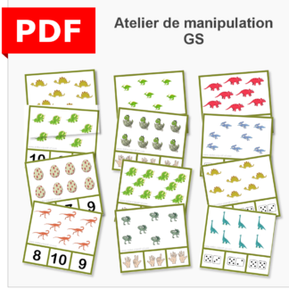 cartes à pince dénombrement dinosaures instruction en famille ief maternelle primaire maths grande section GS