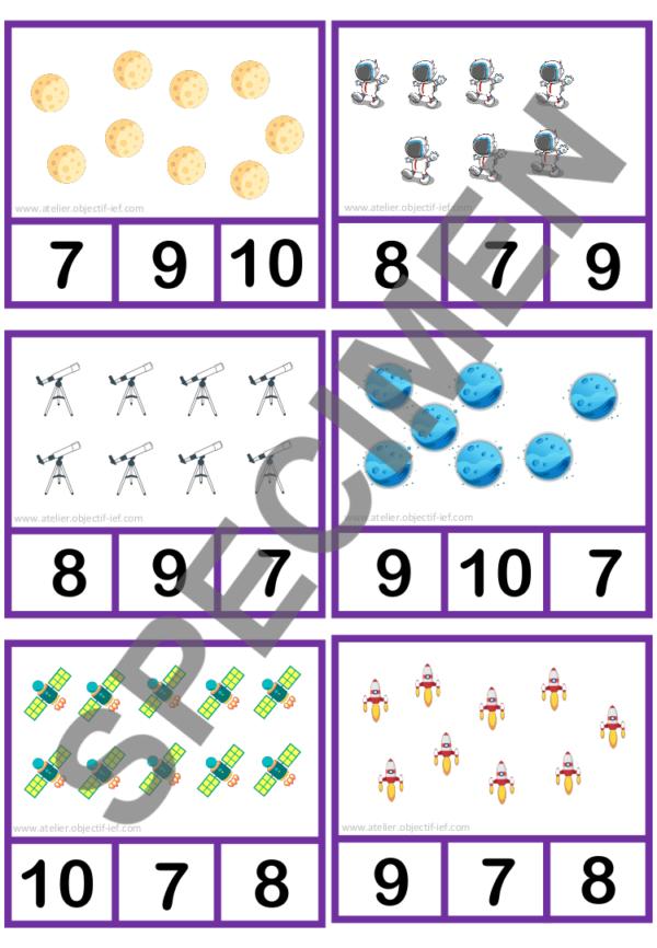 cartes à pince dénombrement espace instruction en famille ief maternelle primaire maths grande section GS