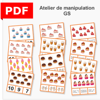 cartes à pince dénombrement gourmandise instruction en famille ief maternelle primaire maths grande section GS