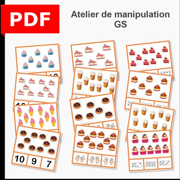 cartes à pince dénombrement gourmandise instruction en famille ief maternelle primaire maths grande section GS