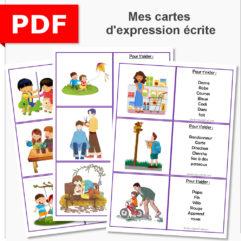 cartes expression écrite cp ce1 ce2 production d'écrit élémentaire primaire maternelle vocabulaire dictée inversée